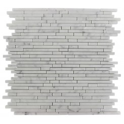 TORPEDO 1/4 X RANDOM WHITE CARRERA PATTERN MARBLE MOSAIC TILES_MAIN