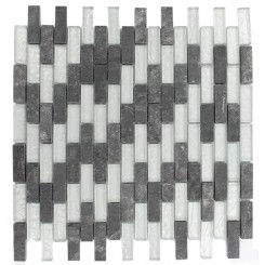 GEOLOGICAL  BRICK BLACK SLATE  & SILVER GLASS TILES 1/2X2_MAIN