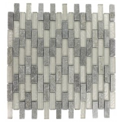 GEOLOGICAL  BRICK GREEN QUARTZ SLATE  & WHITE GOLD GLASS TILES 1/2X2_MAIN