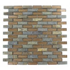 GEOLOGICAL BRICK MULTICOLOR SLATE &amp; BRONZE GLASS TILES 1/2X2_MAIN