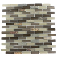 GEOLOGICAL BRICK MULTICOLOR SLATE &amp; KHAKI BLEND GLASS TILES 1/2X2_MAIN