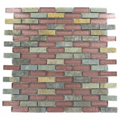 GEOLOGICAL BRICK MULTICOLOR SLATE &amp; RUST GLASS TILES 1/2X2_MAIN