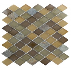 GEOLOGICAL DIAMOND MULTICOLOR SLATE & EARTH BLEND GLASS TILES 2X3_MAIN