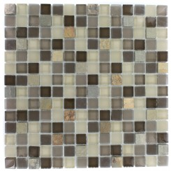 GEOLOGICAL  SQUARES MULTICOLOR SLATE  & KHAKI BLEND GLASS TILES 3/4X3/4_MAIN