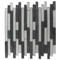 GEOLOGICAL TAO BLACK SLATE &amp; SILVER GLASS TILES 1/2XRANDOM_MAIN