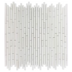 TORPEDO 1/4 X RANDOM WHITE THASSOS PATTERN MARBLE MOSAIC TILES_MAIN