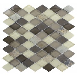 GEOLOGICAL DIAMOND MULTICOLOR SLATE & KHAKI BLEND GLASS TILES 2X3_MAIN