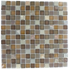 GEOLOGICAL SQUARES MULTICOLOR SLATE & EARTH BLEND GLASS TILES 3/4X3/4_MAIN