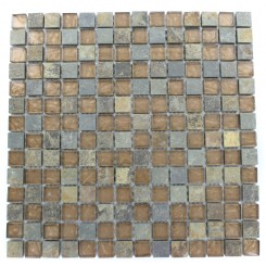 GEOLOGICAL  SQUARES MULTICOLOR SLATE  & BRONZE GLASS TILES 3/4X3/4_MAIN