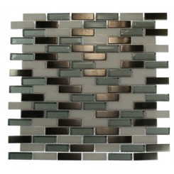 ALLOY POLAR WINDS 1/2X2 BRICK PATTERN MARBLE & GLASS TILE_MAIN