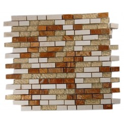ALLOY SERIES GOLDEN GATE 1/2X2 GLASS &amp; MARBLE MOSAIC TILES_MAIN