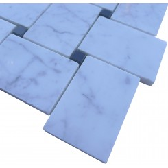 Sample-Arbor White Carrera with Black Dot Marble Tile Sample