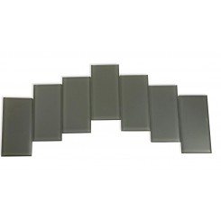 Sample - Loft Ash Gray Polished 3x6 Glass Tiles 1 Piece Sample