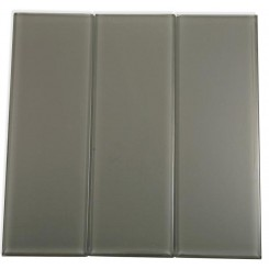 Loft Ash Gray Polished 4&quot; X 12&quot; Glass Tiles
