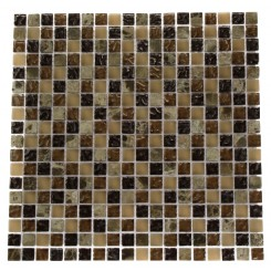 BARREL BROWN BLEND 1/2X1/2 MARBLE &amp; GLASS TILE_MAIN