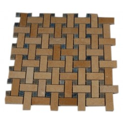 BASKET WEAVE JERUSALEM GOLD WITH BLUE MACAHUBA DOT MARBLE MOSAICS_MAIN