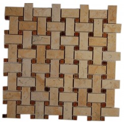 BASKET WEAVE JERUSALEM GOLD WITH WOOD ONYX DOT 1/2 X 1/2 MARBLE MOSAICS_MAIN