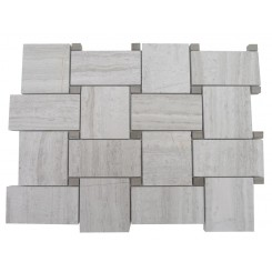 Basketweave Wooden Beige With Athens Gray Dot Marble Tile