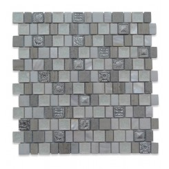 Lotus Silver Crest Glass and Stone Tile