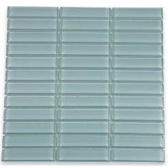 "Loft Blue Gray Polished 1"" X 4"" Glass Tiles"