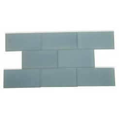 Loft Blue Gray Frosted 3x6 Glass Tile