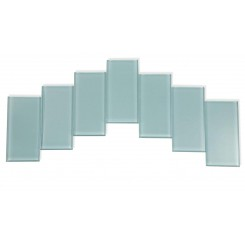 Sample - Loft Blue Gray Polished 3x6 Glass Tiles 1 Piece Sample