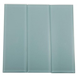 Loft Blue Gray Polished 4&quot; X 12&quot; Glass Tiles
