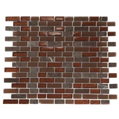 BRICK PATTERN COPPER CLAY BLEND 1/2X2 MARBLE & GLASS TILE BRICK_MAIN