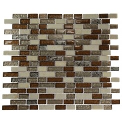 "BRICK PATTERN LEATHER BOOT BROWN BLEND 1/2"" X 2"" MARBLE & GLASS TILE BRICK_MAIN"