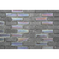 Sample-geological Brick Black Slate & Rainbow Black Glass Tiles Sample