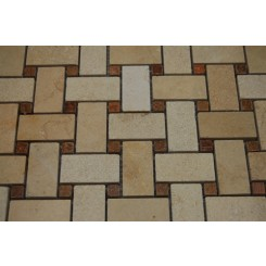 sample-BASKET WEAVE JERUSALEM GOLD WITH WOOD ONYX DOT  TILE 1/4  SAMPLE_MAIN