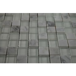 "sample-BREEZE CARRERA ICE PATTERN 3/4 X 3/4"" SQUARES 1/4 SHEET GLASS TILES SAMPLE""_MAIN"