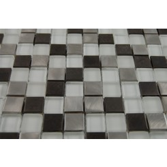 "sample-BREEZE STEEL ICE PATTERN 3/4 X 3/4"" SQUARES 1/4 SHEET GLASS TILES SAMPLE""_MAIN"