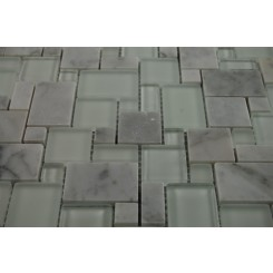 sample-BREEZE CARERRA ICE VENETIAN PATTERN 1/4 SHEET GLASS TILES SAMPLE_MAIN