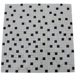 CHECKERBOARD WHITE AND BLACK 1/2&quot; X 1/2&quot; MARBLE TILES_MAIN