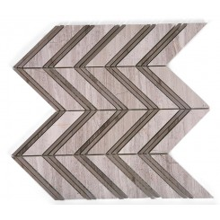 Monarch Wooden Beige With Athens Gray Strips Marble Tile