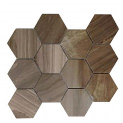 "Coffee Wood 4"" Hexagon Marble Mosaic Tile"