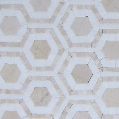 Cosmos Crema and Thassos Hexagon Marble Tile