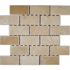 CREAMA MARFIL 2X4 BEVELED MARBLE MOSAIC TILES_MAIN