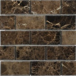 Dark Emperador Beveled 2x4 Marble Mosaic Tiles