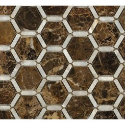 Florentine Pearl Dark Emperador Marble and Pearl Glass Tile