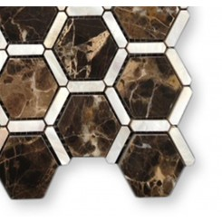 Sample-Florentine Pearl Dark Emperador Marble and Pearl Glass Sample