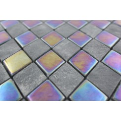 Sample- Geological Diamond Black Slate & Rainbow Black Glass Tiles Sample