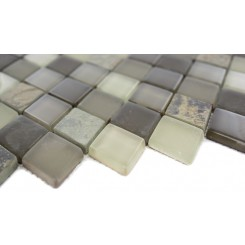 Sample- Geological Diamond Multicolor Slate & Khaki Blend Glass Tiles Sample
