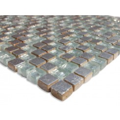 Sample-Alloy Quick Silver  1/2 X 1/2  Glass and Marble Tiles 1/4 Sheet Sample
