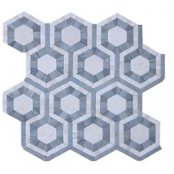 Cosmos Carrera and Moonstone Hexagon Marble Tile