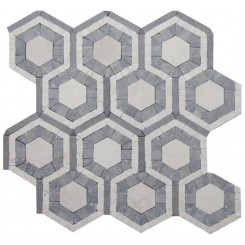 Cosmos Egypt Beige and Lagos Azul Hexagon Marble Tile