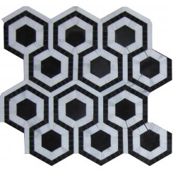 Cosmos Nero and Asian Statuary Hexagon Marble Tile