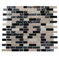 FUSION ASPHALT 1/2X2 MARBLE &amp; GLASS TILES_MAIN
