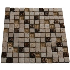 FUSION CAMELLIA 1X1 MARBLE &amp; METAL TILES WITH COPPER DECO_MAIN